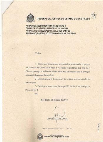 Cópia do ofício do desembargador do Tribunal de Justiça de São  Paulo
